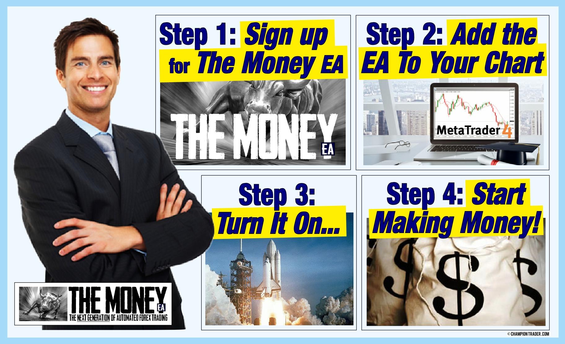 The Money EA forex expert advisor logo start making money today!